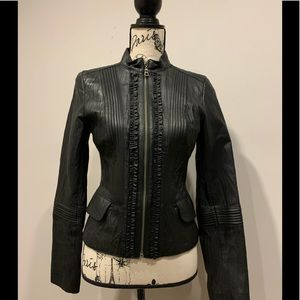Danier Genuine Leather Pleated Moto Jacket